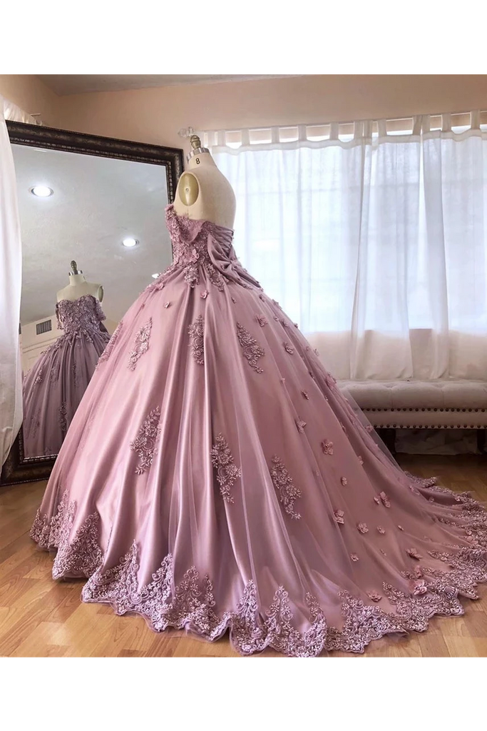 Ball Gown Off The Shoulder Tulle Quinceanera Dress With Lace Appliques Puffy Prom STGP3HM7KB3