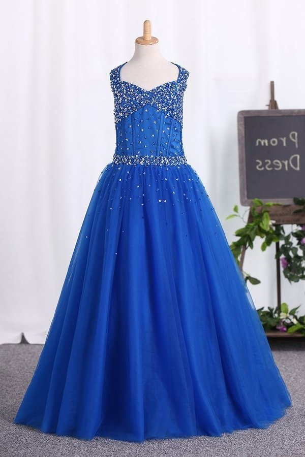 Halter Ball Gown Flower Girl Dresses Dark Royal Blue PKRL832A