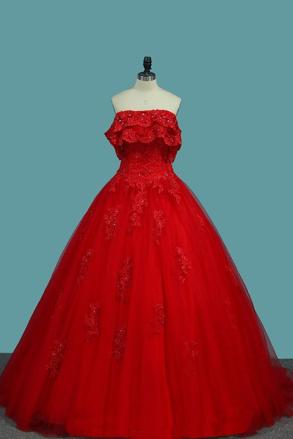 Ball Gown Tulle Boat Neck With Applique And Beading P6K1TTQS
