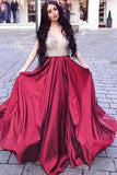 2020 A Line Prom Dresses V Neck Satin PC6LZ4BR