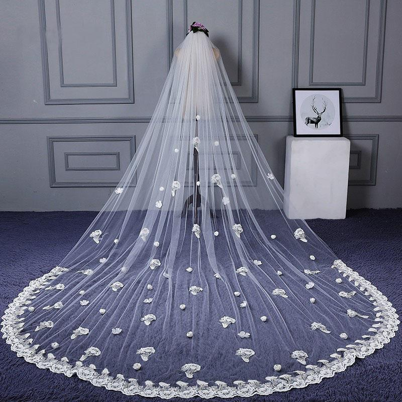3M Tulle Ivory Wedding Veils with Appliques, Fashion Hand Made Flowers Wedding Veils STG15544
