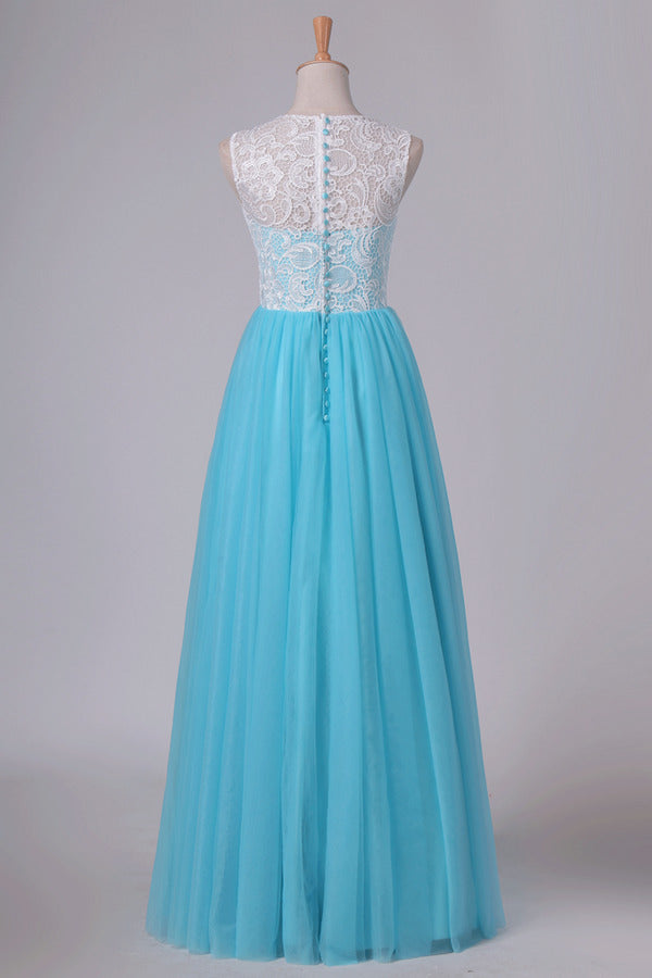 A Line Scoop Floor Length Prom Dresses Tulle & PE4F9YS1