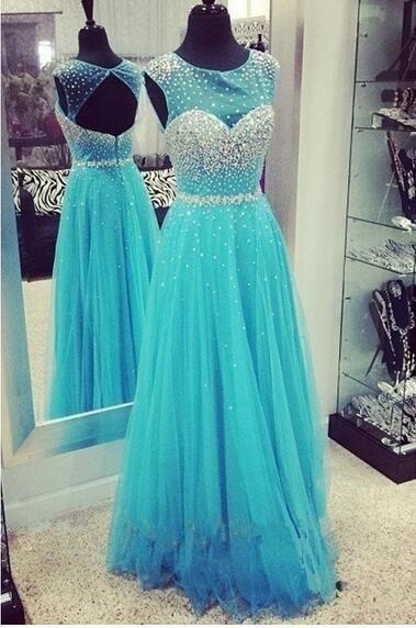 New Arrival Sweet Beading Tulle Floor Length Prom Ball Gowns Formal Evening