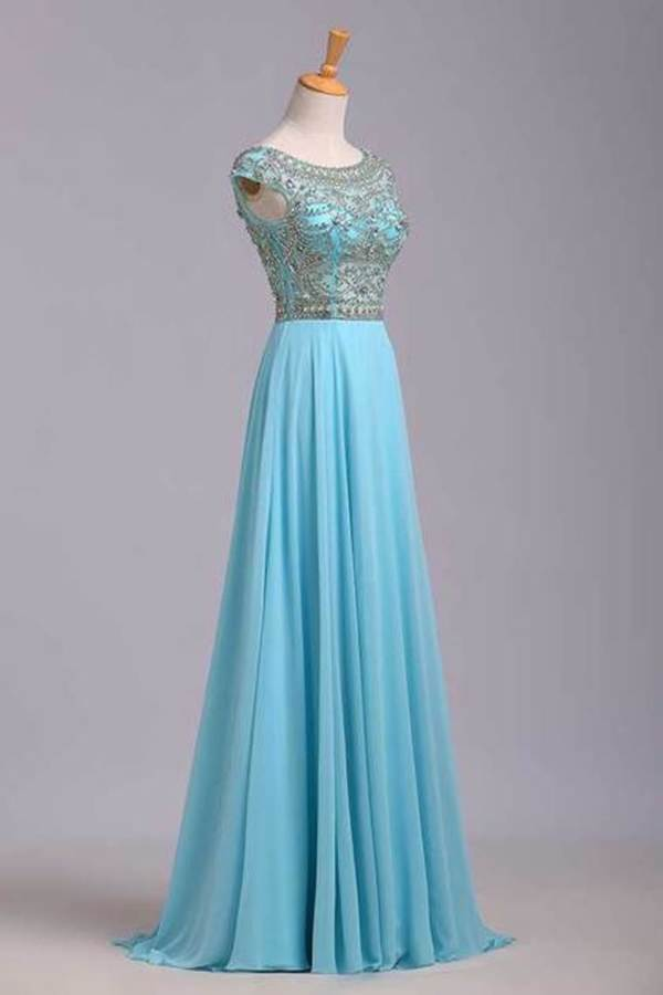 Elegant Prom Dresses A-Line Scoop Beaded Bodice Floor-Length Chiffon Zipper PGSDHHXY