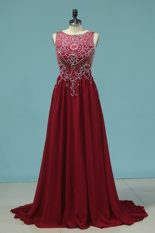 Chiffon A Line Prom Dress Scoop Beaded Bodice PGCMALL4