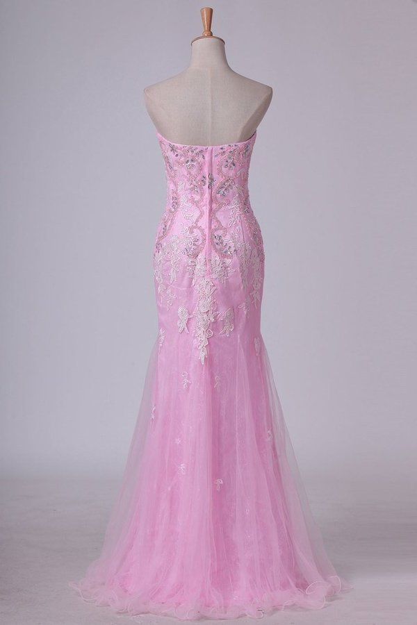 Column Strapless With Beading And Applique Prom Dresses Sweep PT2F2CHL