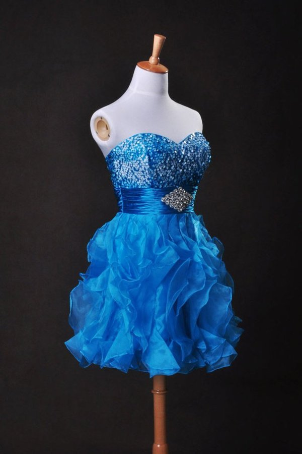 Collection Blue A Line Sweetheart Short/Mini Organza PZBJJ8XJ