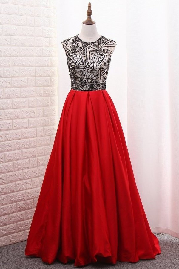 2020 A-Line Scoop Satin Prom Dresses Tulle Bodice Black Sequins Floor-Length PAJZDZGT