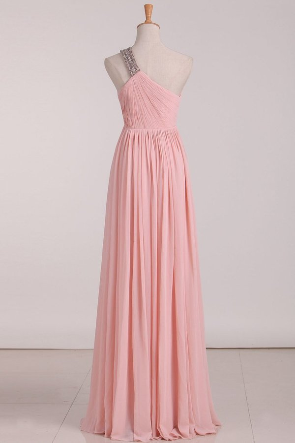 2020 Chiffon One Shoulder Bridesmaid Dresses With Beads And Ruffles A PZ3RQ2K2