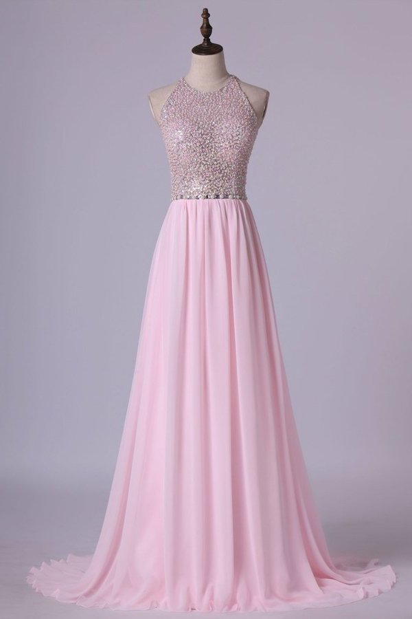 Heavily Beaded Bodice Scoop A Line Prom Dresses Chiffon Open PXHDBN73