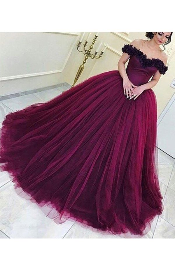 Ball Gown Off The Shoulder Prom Dresses Tulle With P4K9PQTK
