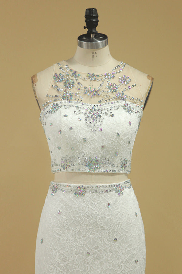 Scoop Two-Piece Lace With Beading Prom PBF4LLMN