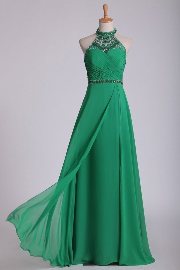 High Neck Prom Dresses Beaded And Ruched Chiffon Sweep PKPJPS5Y