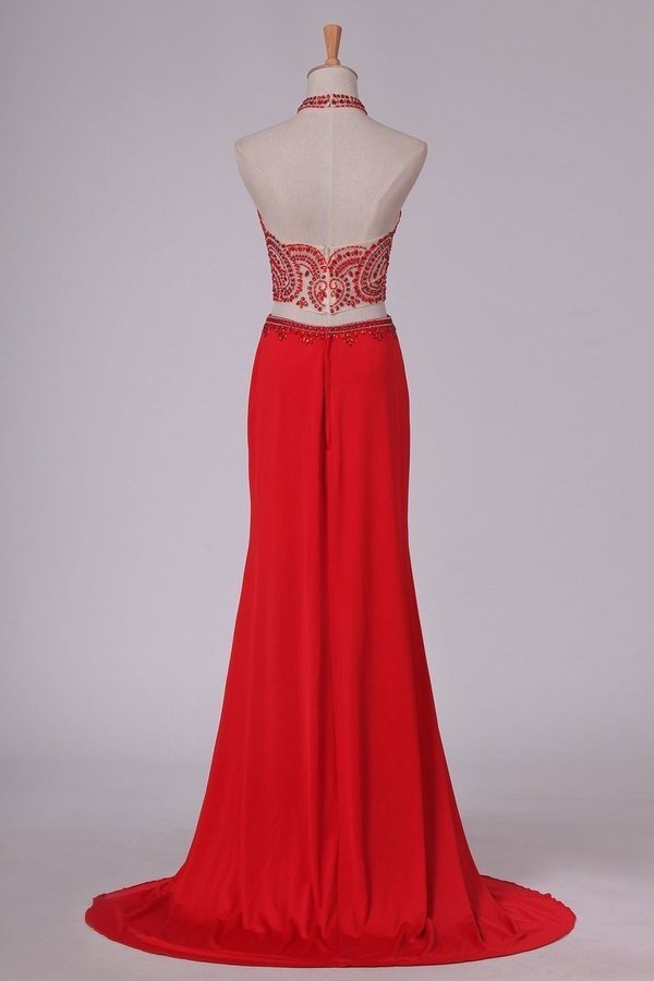 Prom Dresses See-Through High Neck Two Pieces Spandex With Slit P329CABQ