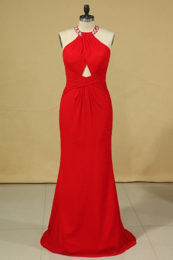 Red Plus Size Scoop Prom Dresses Floor Length Spandex With Beading PK31SDMD