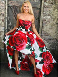 A Line Strapless High Low Red Rose Floral Satin Prom Dresses, Long Evening Dress STG15556