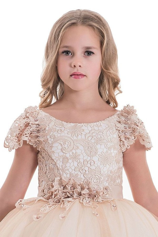 Ball Gown Flower Girl Dresses Scoop Short Sleeves Tulle PJYBZFB4