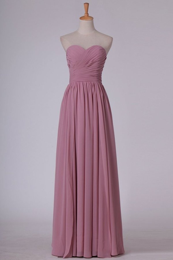 A Line Sweetheart Bridesmaid Dress Floor Length Chiffon With P3F81HXF