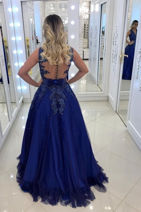 2020 A Line Scoop Tulle Prom Dresses With Applique PPGDM2DF