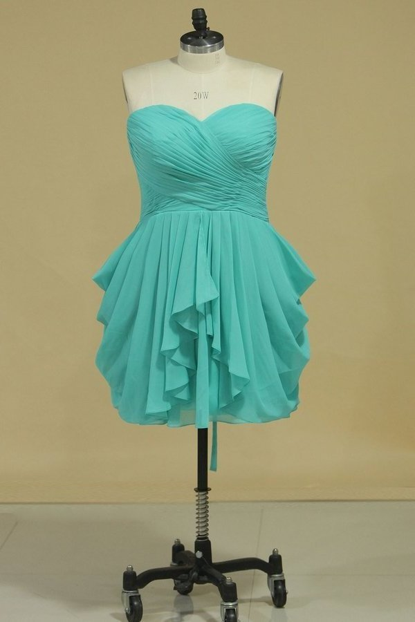 A Line Ruched Bodice Homecoming Dresses Chiffon PS8RQ9GE