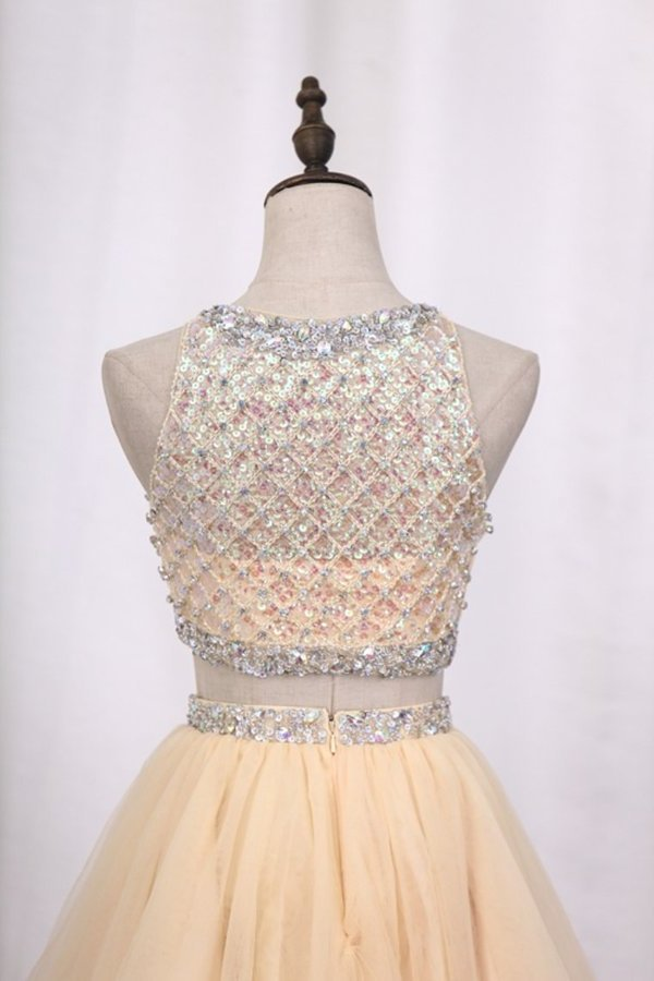 Homecoming Dresses Scoop A-Line Beaded Bodice P93AXD5L