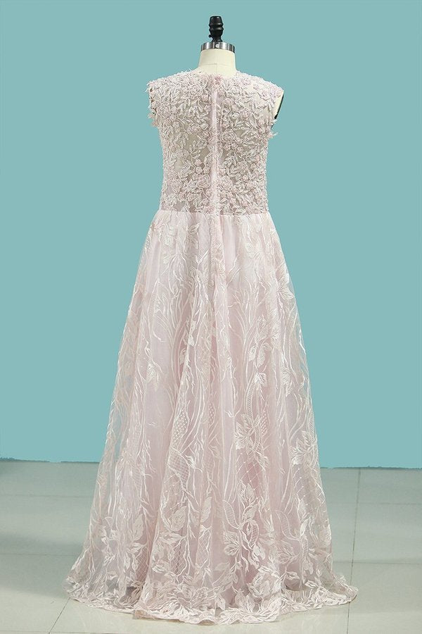 A Line Scoop Evening Dresses Lace With Applique And Beading P2RXM5ST