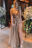 A-Line/Princess Sleeveless V-Neck Floor-Length Rhinestone Tulle Dresses P7NBZG9Y