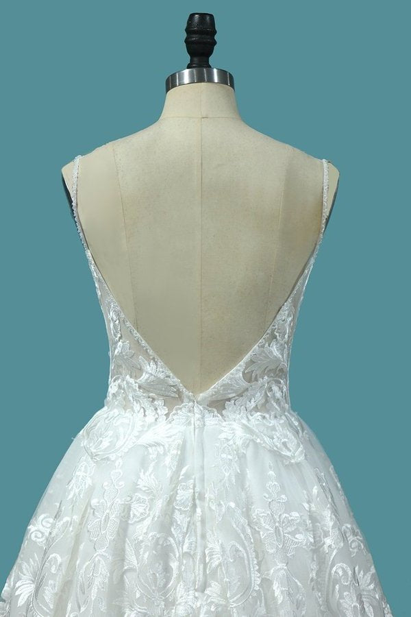 2020 A Line Lace Wedding Dresses Spaghetti Straps With Beads P6YBRS9A