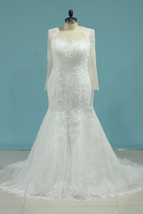Scoop Wedding Dresses Mermaid Long PNNX4GZ9