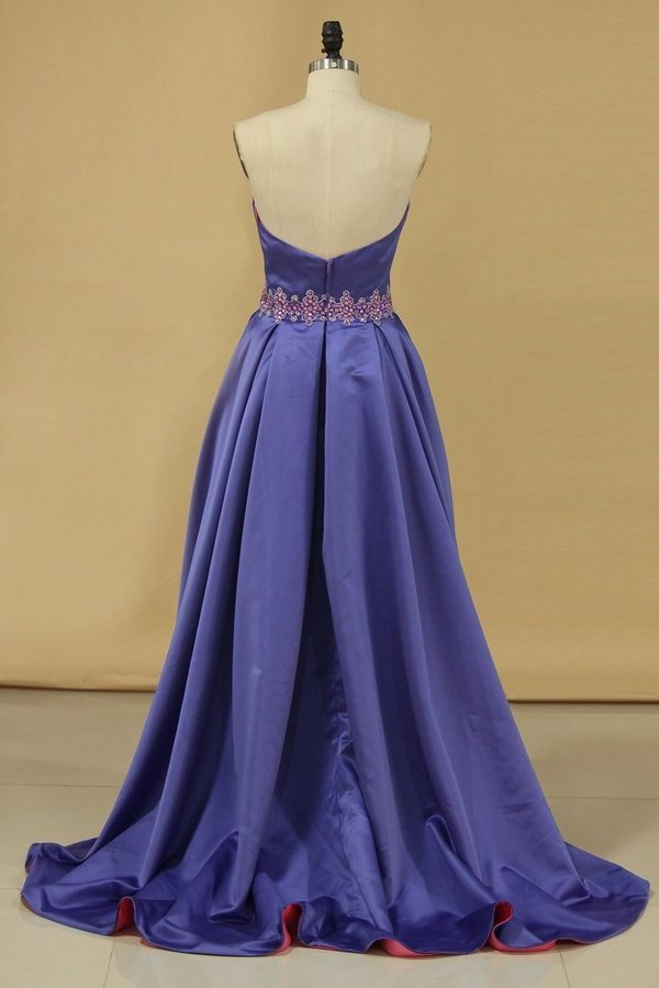 Bicolor Sweetheart With Beads Prom Dresses Satin PXNH589R