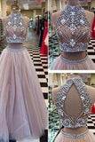 New Style Sexy Two Piece silver beaded bodice High Neck Tulle Skirts Champagne Prom Dress