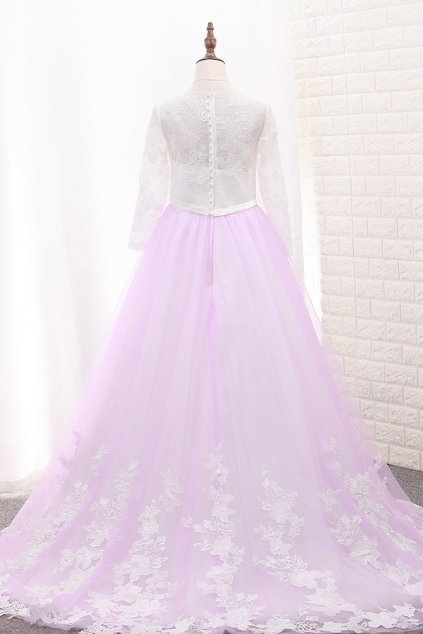 A Line Long Sleeves Tulle Scoop Flower Girl Dresses With Applique PK18LEFF