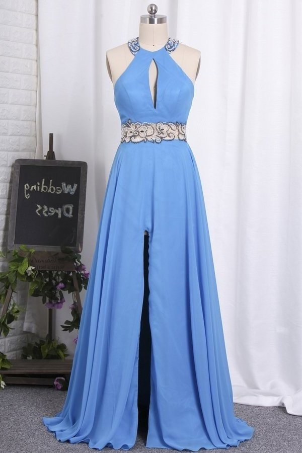 Halter Open Back Prom Dresses A Line Chiffon With Beads P58HQQ94