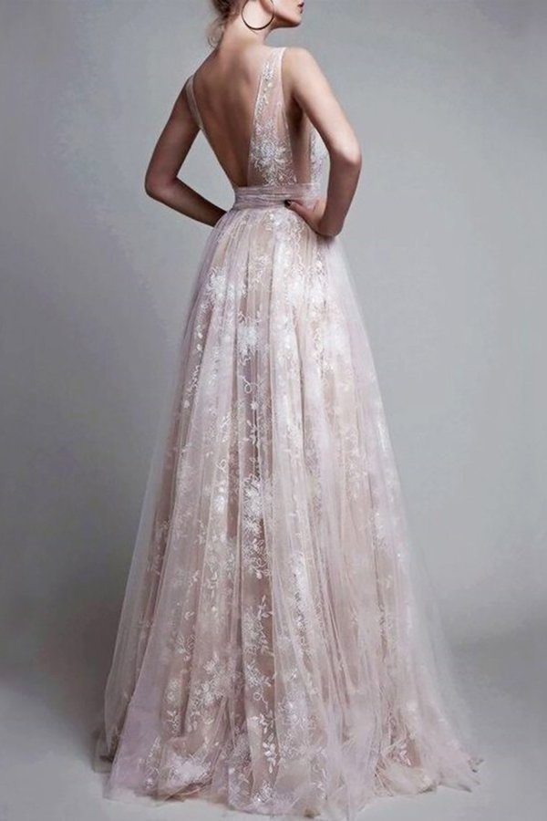 A-Line/Princess V-Neck Floor-Length Tulle Sleeveless Applique PQ349YFM