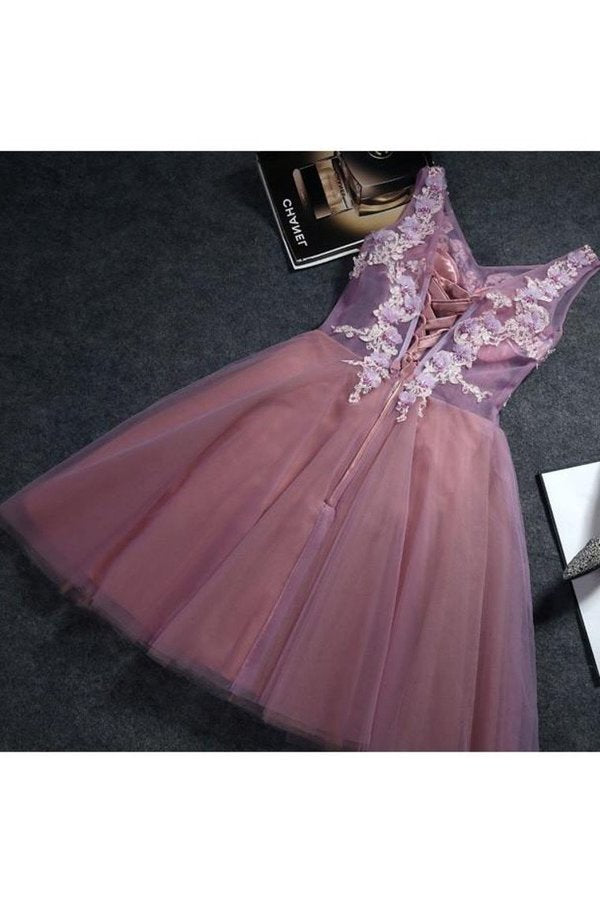 Homecoming Dresses A Line V Neck Tulle With Applique And PG73TM7M