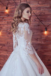 Lace Appliques Half Sleeve Romantic White Ball Gown Tulle Lace up Wedding Dress