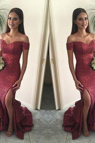 Red Mermaid Long Sequin Sexy Sweetheart Off-the-Shoulder Backless Custom Prom Dresses