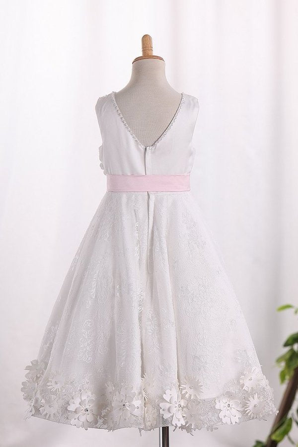 Scoop A Line Lace Flower Girl P6LNJBC4