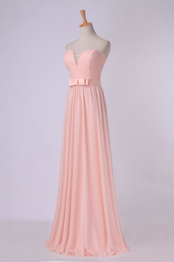 Sweetheart A Line Prom Dress With Sash Pick Up Long PANGNZBR