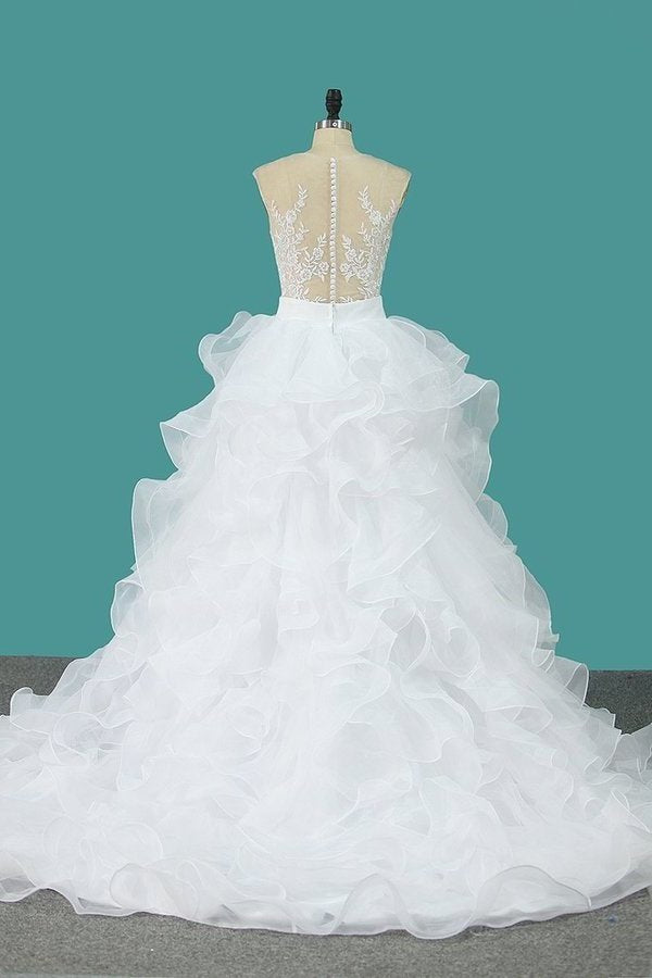 Scoop Tulle With Applique Detachable Wedding P6CEYH77