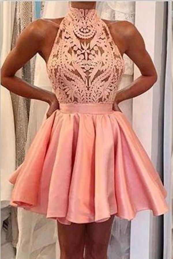 A Line High-Neck Satin & Lace Short/Mini Homecoming Dresses With PQ9689X5