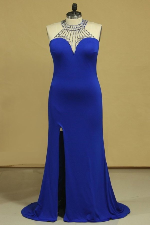 Dark Royal Blue Prom Dresses Sheath Scoop With Beading Sweep PQF459BJ
