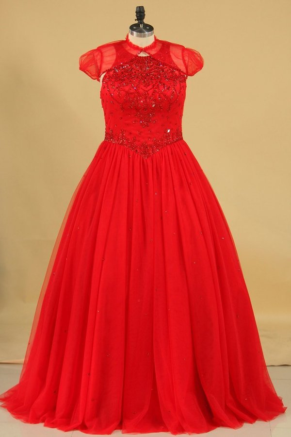 Ball Gown Scoop Tulle With Beading Quinceanera Dresses Court PBGN1HLM