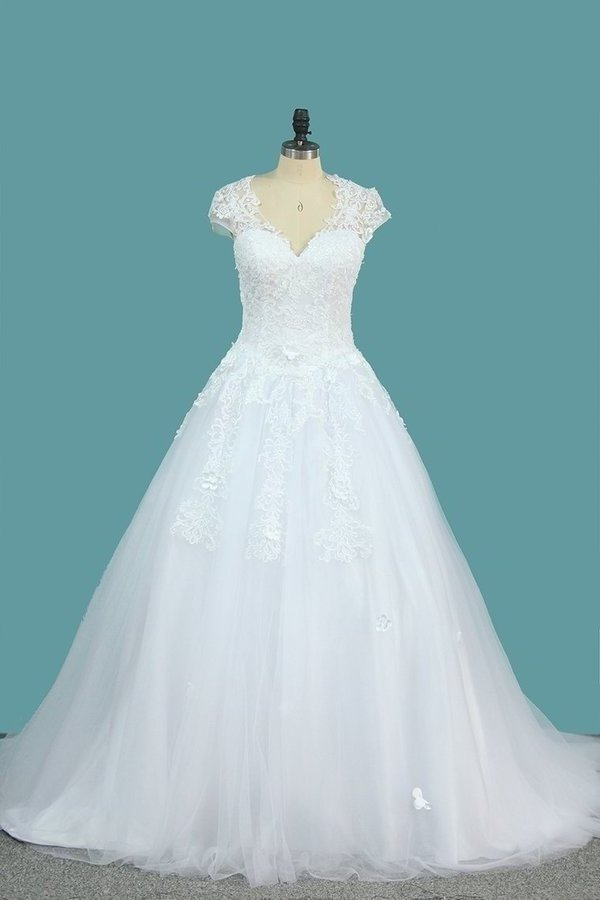 Ball Gown Short Sleeves Scoop Wedding Dresses Tulle PMFDRRQQ