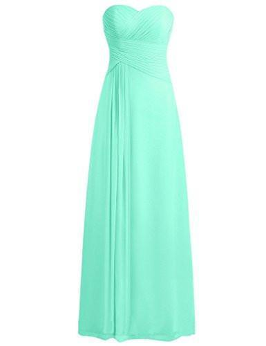 Sweetheart Bridesmaid Dresses Chiffon Long Prom Evening Gown Pleat