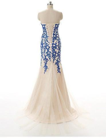 Strapless Tulle Mermaid Lace Dresses Long Prom Dress with Crystals