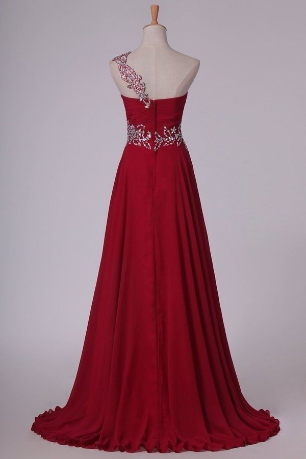 Chiffon One Shoulder With Beads And Ruffles A Line Prom PXFR8F9J