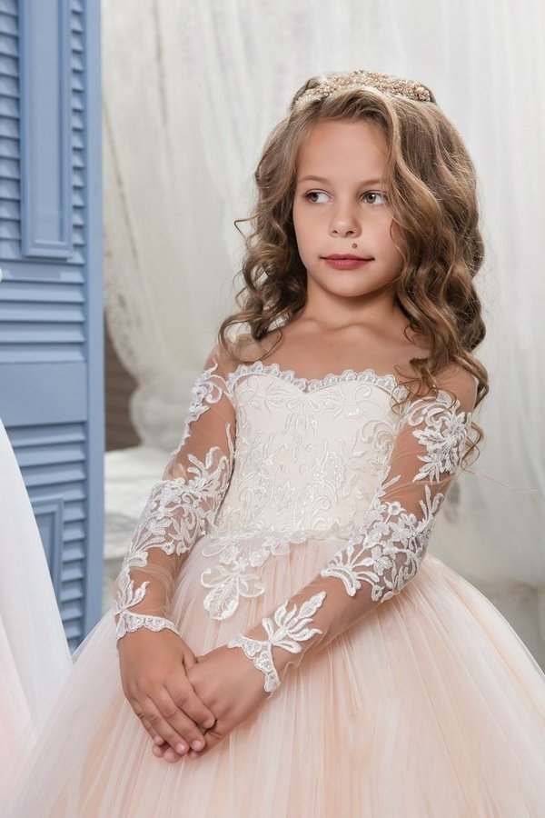 Scoop Flower Girl Dresses Ball Gown Long Sleeves PCE57SD1