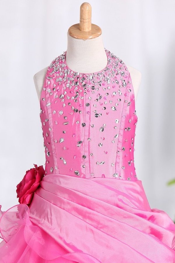 Ball Gown Halter Flower Girl Dresses Floor PLL2RDJL