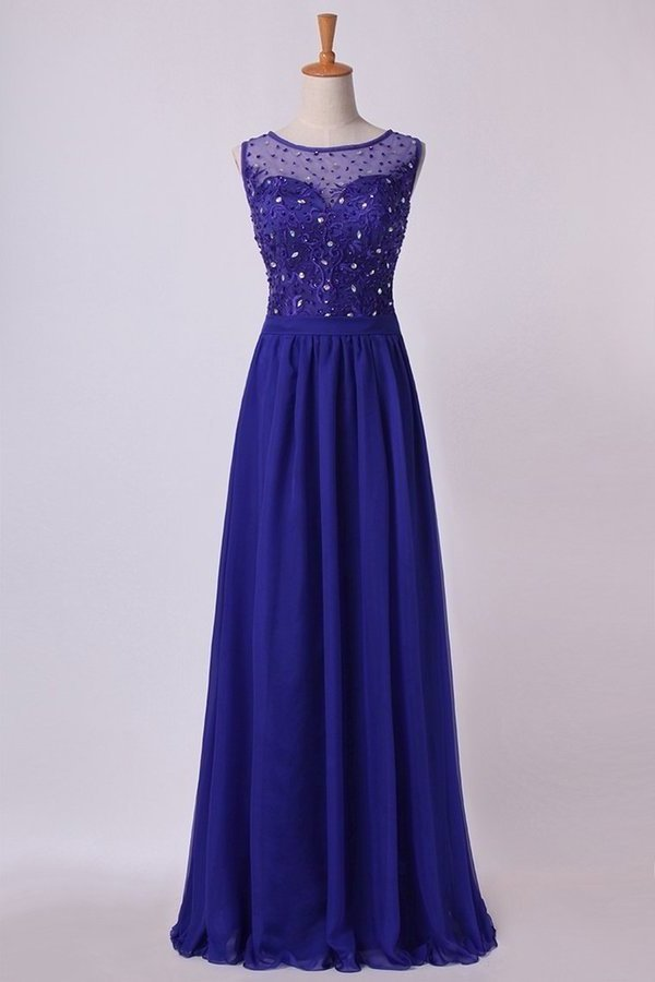 Bateau Prom Dress A Line Floor Length With Embroidery And Beads PJK78329